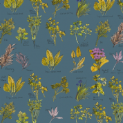 Inprint Chelsea Physic Garden - 4052 - Named Herbs - Blue - 8951 T55 - Cotton Fabric